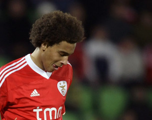 Benfica's Axel reacts during their Portuguese Premier League soccer match against Rio Ave at Dos Arcos stadium in Vila do Conde