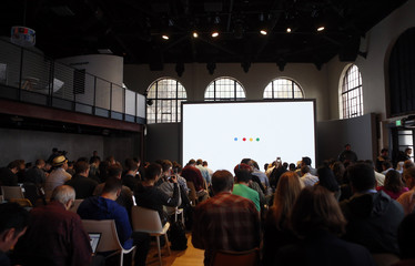 Attendees wait for the program to begin during the presentation of new Google hardware in San Francisco