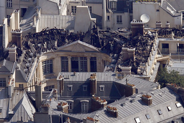 Aerial view of the damage after a fire at the 17th century Hotel Lambert in the Ile Saint Louis in Paris