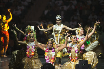 Dancers perform before India's Prime Minister Modi speaks at Madison Square Garden in New York