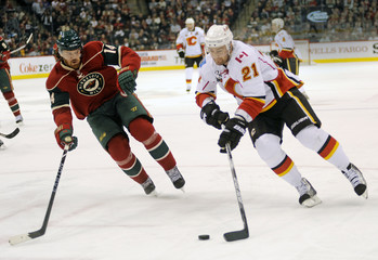 Flames' Higgins skates past Wild's Havlat in the first period during their NHL hockey game in St. Paul