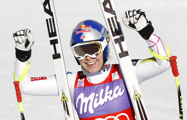 Vonn of the U.S. reacts after crossing the finish line to win the women's downhill event at the Alpine Skiing World Cup in Cortina d'Ampezzo