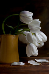 White tulips in a yellow vase with fallen petals