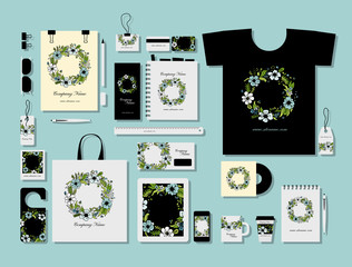 Corporate flat mock-up template, floral wreath design