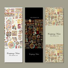 Banners design, ethnic handmade ornament