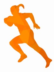 silhouette of a rugby player, vector draw