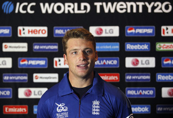 England's Buttler speaks to reporters during a news conference ahead of the World Twenty20 cricket series in Colombo
