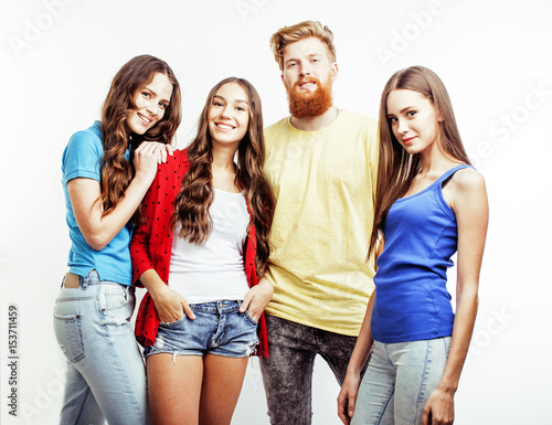Company Of Hipster Guys Bearded Red Hair Boy And Girls
