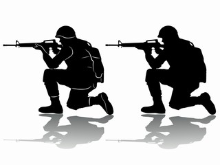 illustration of a shooting soldier, vector draw
