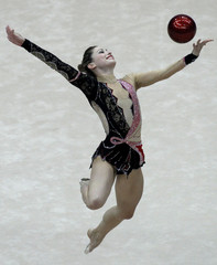 Risenson of Israel performs with the ball during the Rhythmic Gymnastics World Championships in Moscow