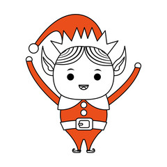 color silhouette image cartoon full body christmas elf with hands up vector illustration