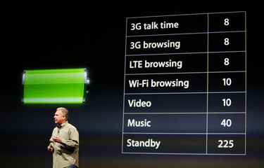 Phil Schiller, senior vice president of worldwide marketing at Apple Inc., talks about battery life of the iPhone 5 during Apple Inc.'s iPhone media event in San Francisco