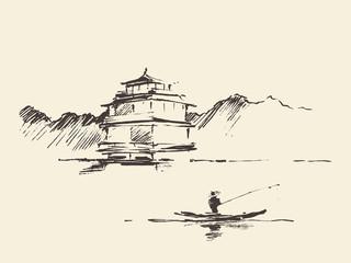 Oriental landscape pagoda lake drawn vector sketch