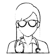 female doctor avatar character vector illustration design