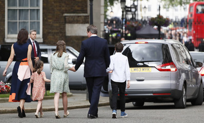 Britain's outgoing Prime Minister, David Cameron, leaves number 10 Downing Street, in central London