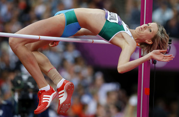 Uzbekistan's Svetlana Radzivil competes in the women's high jump final at the London 2012 Olympic Games