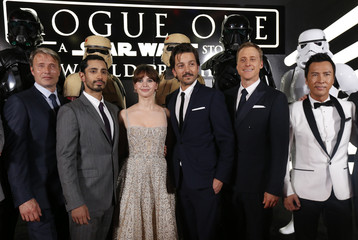 """Actors Mikkelsen, Ahmed, Jones, Luna, Tudyk and Yen arrive at the world premiere of the film """"Rogue One: A Star Wars Story"""" in Hollywood"""