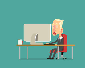 character design on business man working in office behind her desk with desktop computer and coffee