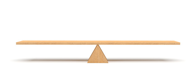 3d rendering of a wooden plank balancing on a wooden triangle isolated on white background.