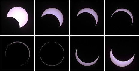 A combination of pictures shows the beginning to the end of an annular solar eclipse seen from a beach of the French Indian Ocean island of La Reunion