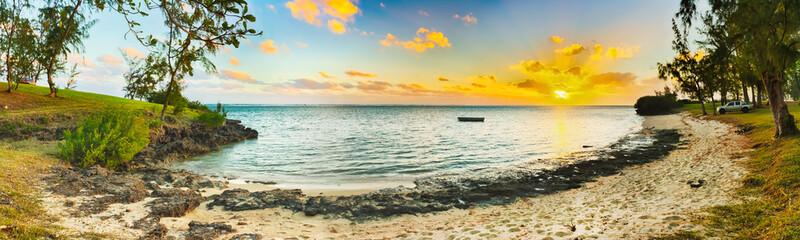 Beautiful beach at sunset. Panorama