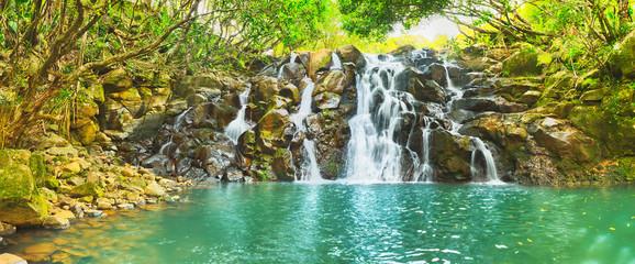 Printed roller blinds Waterfalls Cascade Vacoas waterfall. Mauritius. Panorama