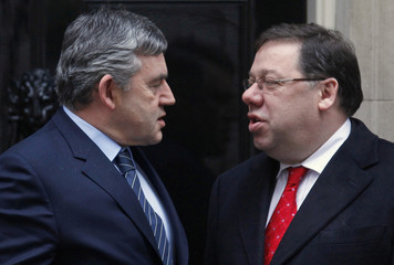 Britain's Prime Minister Brown greets his Irish counterpart Cowen on the steps of 10 Downing Street in London