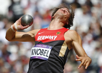 Germany's Jan Felix Knobel competes in the men's decathlon shot put event at the London 2012 Olympic Games at the Olympic Stadium