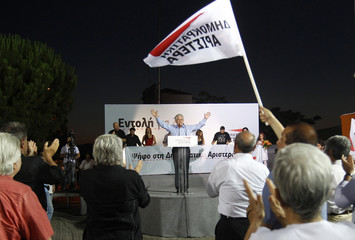 Leader of Democratic Left party Kouvelis waves to supporters during a pre-election rally in Athens