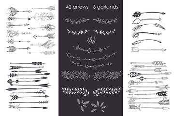 set with arrows, hand drawn ethnic collection with arrows, garlands, laurel for design, rustic decorative arrows, hippie and boho style vector illustration