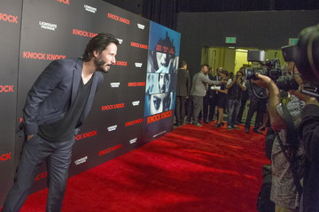"Actor Keanu Reeves arrives for the Los Angeles special screening of ""Knock Knock"" in the Hollywood section of Los Angeles, California"
