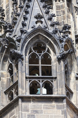 14th century St. Vitus Cathedral , facade, window,  Prague, Czech Republic.