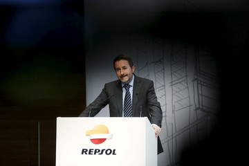 Repsol Chief Executive Officer Imaz talks during a news conference in Madrid