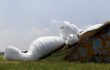 A 25.3-meter-long giant rabbit designed by Dutch artist Florentijn Hofman is displayed in an old aircraft hangar as part of the Taoyuan Land Art Festival in Taoyuan