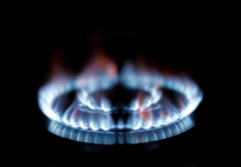 Flames from a gas burner on a cooker are seen in this illustration photo taken in a private home in Nice