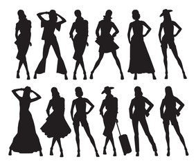 Vector illustration of woman's silhouettes in different pose and clothes on white background
