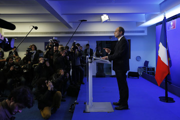 French UMP political party head Cope attends a news conference at the party headquarters in Paris