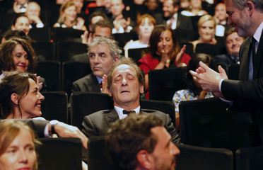 Actor Vincent Lindon reacts after being awarded with the Best Actor award during the closing ceremony of the 68th Cannes Film Festival in Cannes