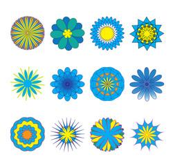 Flowers set, doodle colorful  flowers. Vector illustration
