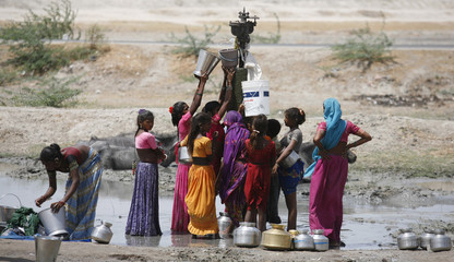 Women fill their buckets with drinking water that is leaking from a broken pipe at Dharji village in Gujarat