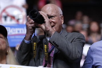 Senator Leahy shoots pictures on the floor during the second day of the Democratic National Convention in Philadelphia