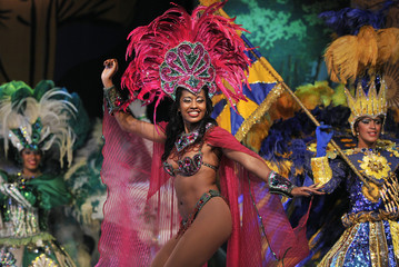 Samba dancers perform at a theatre in Rio de Janeiro