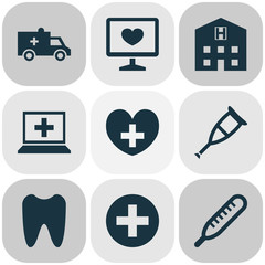 Drug Icons Set. Collection Of Bus, Database, Diagnosis And Other Elements. Also Includes Symbols Such As Heal, Tooth, Pharmaceutical.