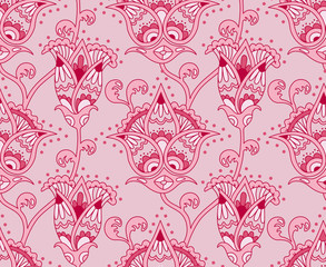 Vintage floral seamless pattern. Ethnic ornament. Stylized decorative flowers in folk style. Traditional handcraft. Seamless texture in pink colors. Vector illustration.