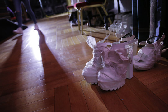 Shoes for models are seen on a floor prior to the Hempel Award 24th China International Young Fashion Designers Contest at China Fashion Week in Beijing