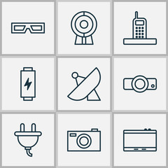 Gadget Icons Set. Collection Of Web Discussing, Spectacles, Antenna And Other Elements. Also Includes Symbols Such As Device, Energy, Spectacles.