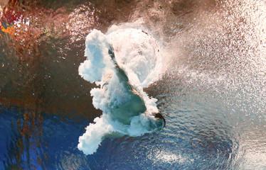Hixon of the U.S. is seen underwater during the men's 3m springboard semi-final at the Aquatics World Championships in Kazan