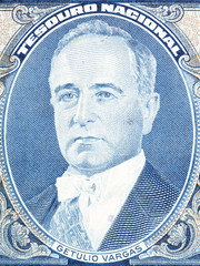 Getulio Dornelles Vargas portrait from old Brazilian money