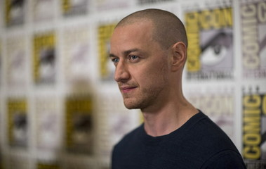 """Cast member McAvoy poses at a press line for """"Victor Frankenstein"""" during the 2015 Comic-Con International Convention in San Diego"""