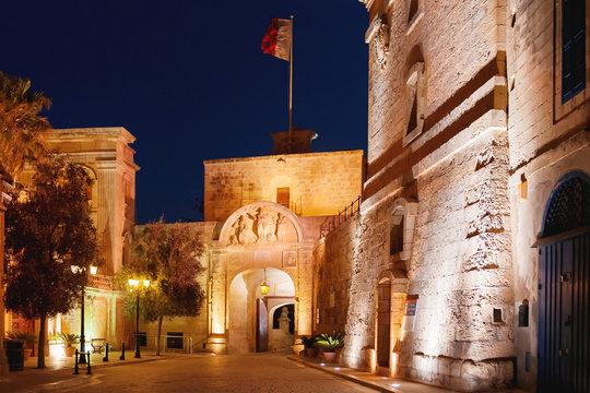 Night cityscape of Mdina, old capital of Malta.